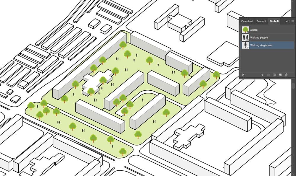 Schema funzionale architettonico completato in Adobe Illustrator.