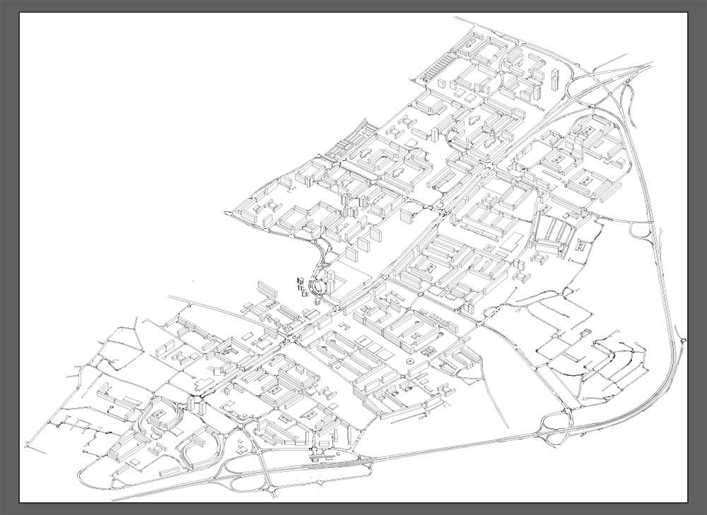 Schema funzionale architettonico grezzo, ovvero appena esportato dal software CAD in Adobe Illustrator.