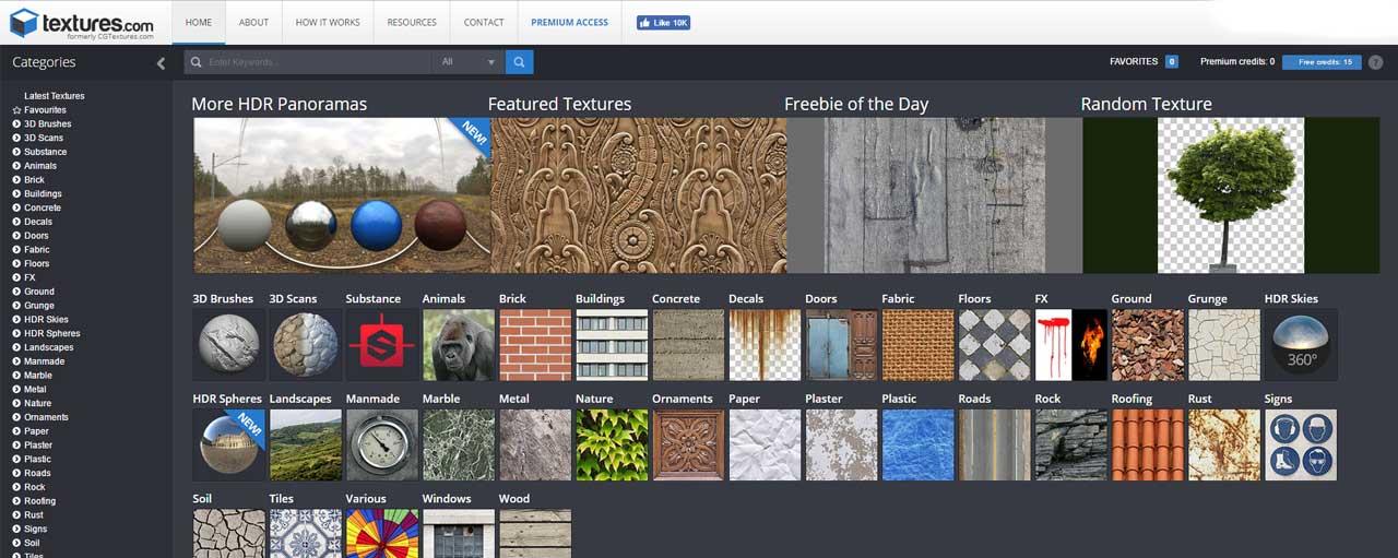 Textures.com offre un assortimento incredibile di texture gratuite.