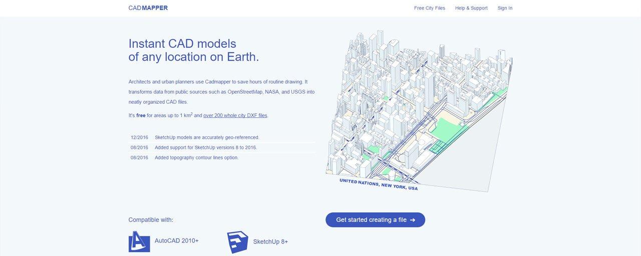 CADMapper fornisce modelli CAD 3D e 2D gratuiti di qualsiasi località del pianeta.
