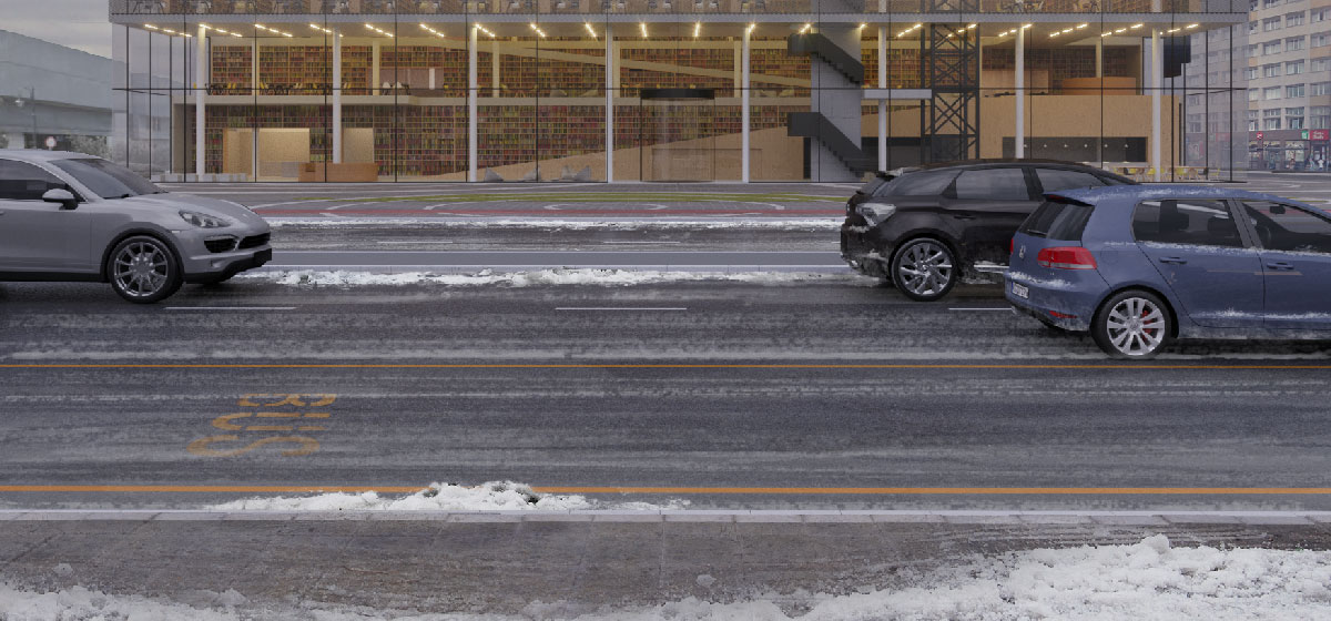 Cumuli di neve ai lati della strada.