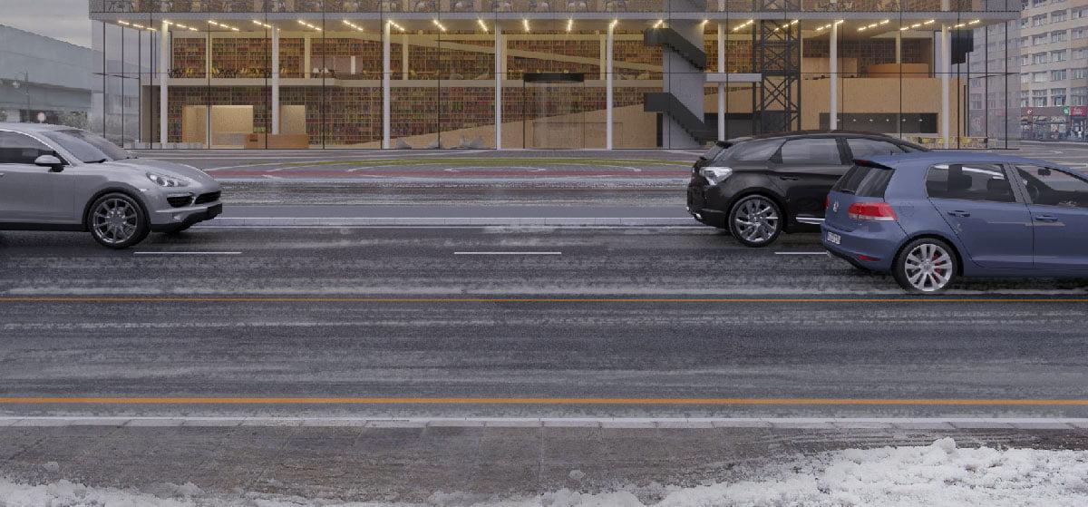 Strisce di neve dipinte sulla strada.