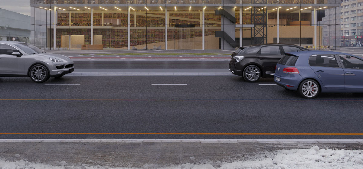 La neve dipinta sul marciapiede in primo piano.