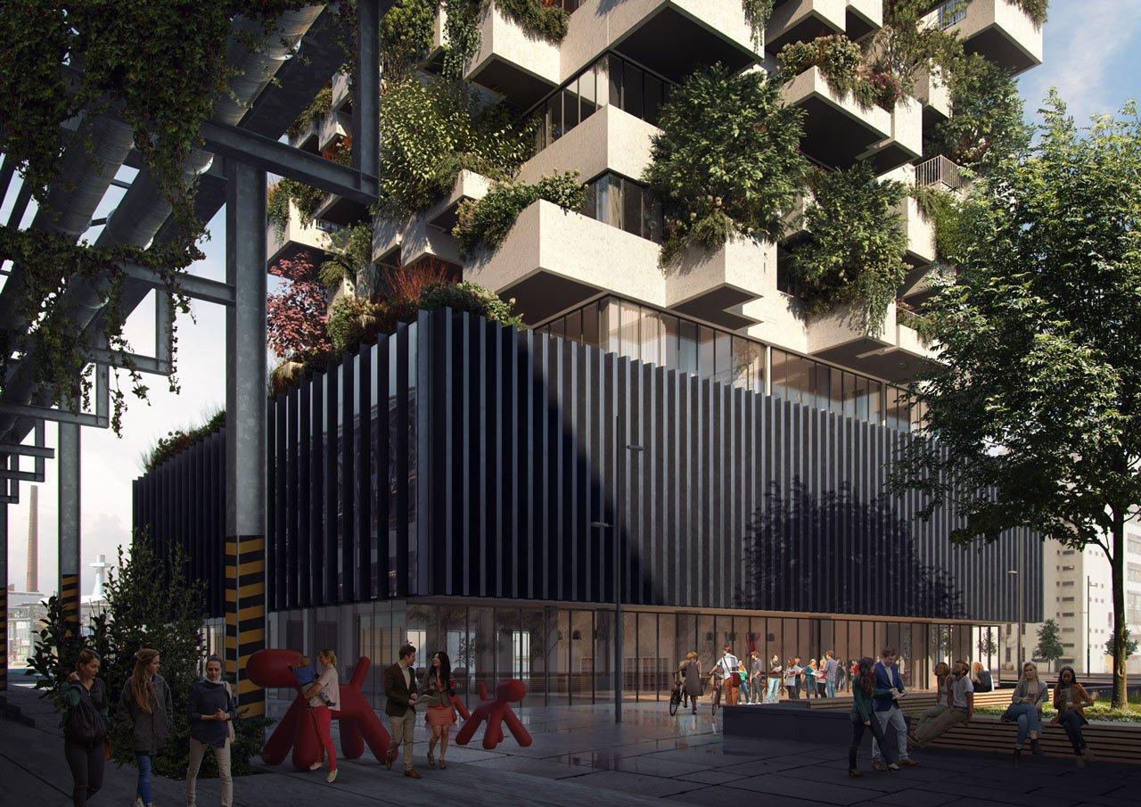 In questa immagine realizzata per Stefano Boeri Architetti, il primo piano della scena è completamente realizzato in Photoshop.