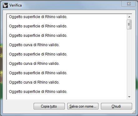 Strumento di Verifica geometrie di Rhinoceros