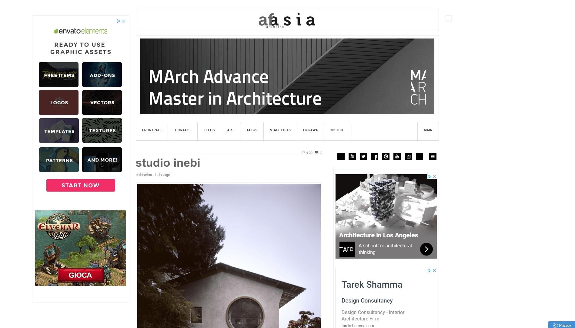 Sebbene pieno di banner, Afasia rimane comunque un riferimento importante nel panorama dei siti di architettura.
