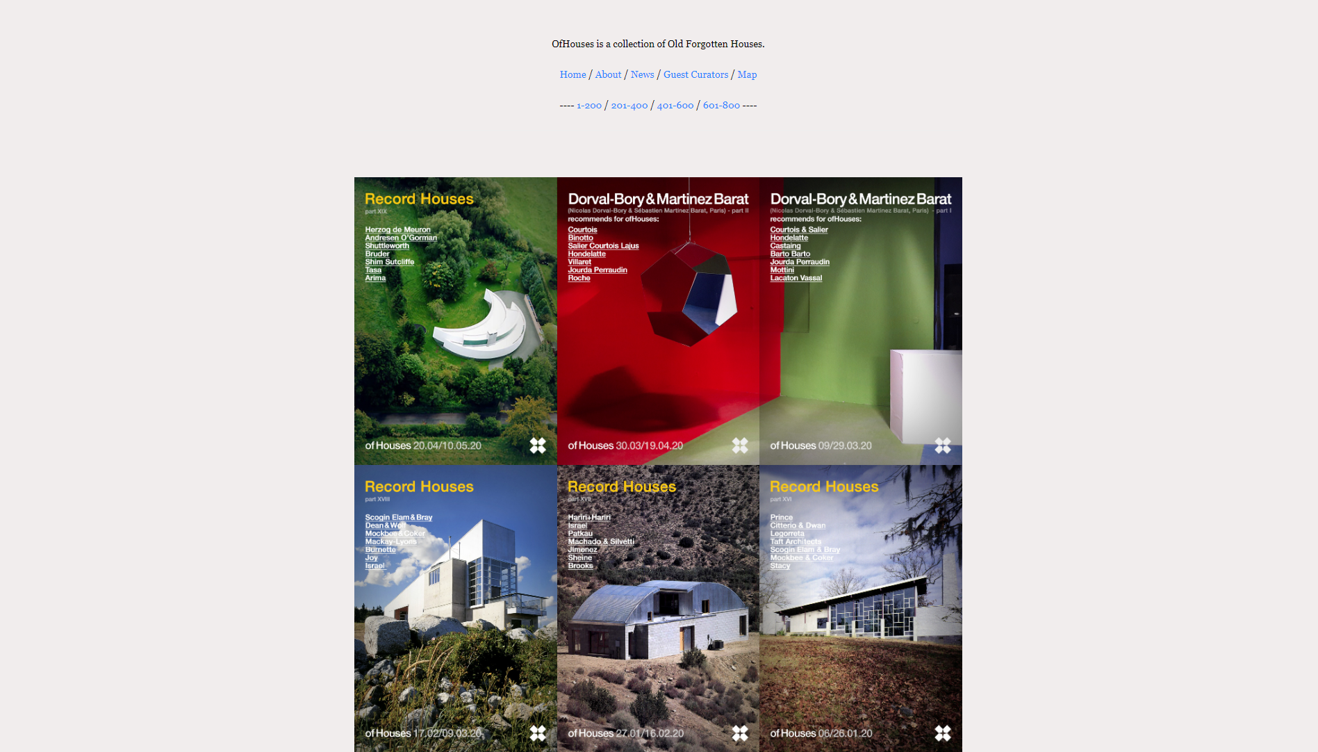 Ofhouses è un sito di architettura che raccoglie e pubblica unicamente edifici residenziali.