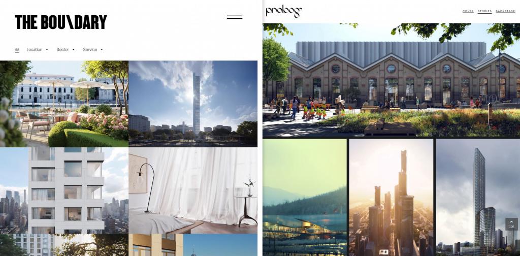 Confronto tra due studi di visualizzazione architettonica molto differenti tra loro: The Boundary e Proloog.