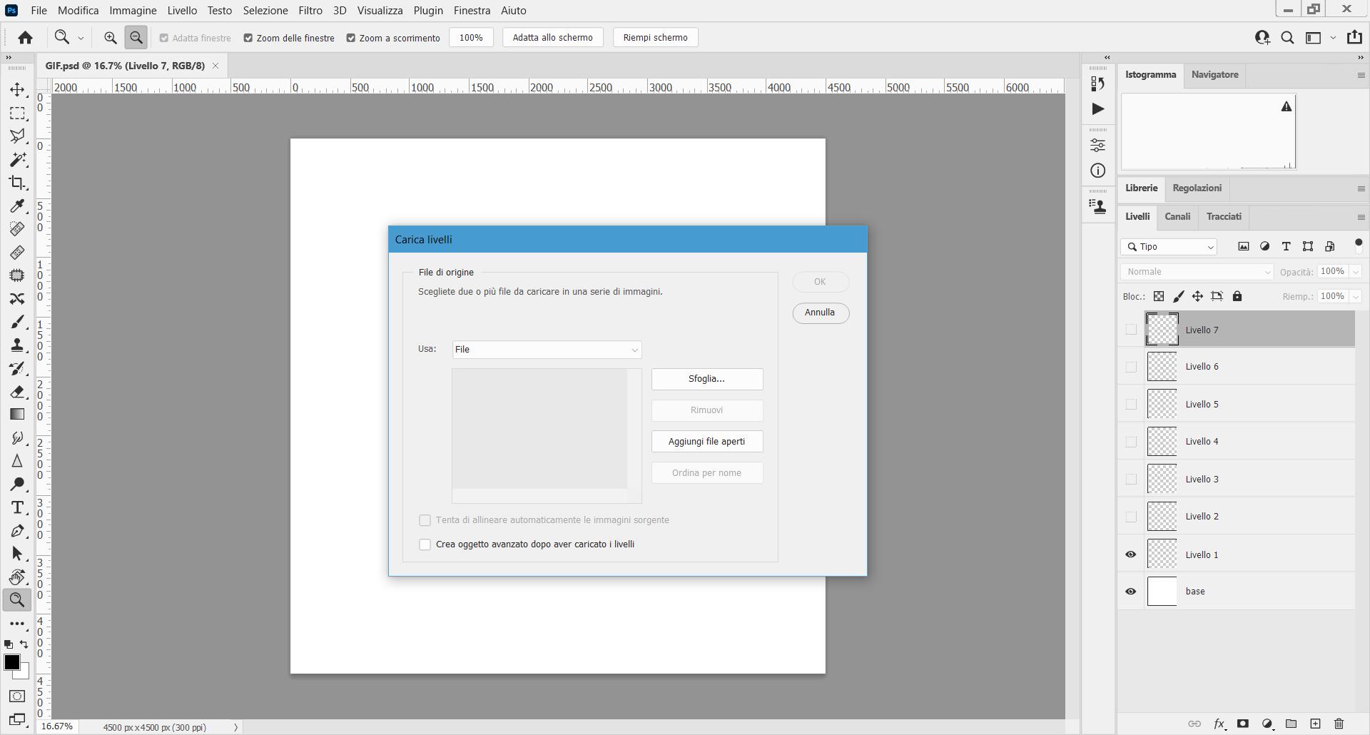 Come creare una GIF animata per i tuoi progetti architettonici? Per iniziare, carica i livelli corrispondenti a ogni fotogramma in Photoshop